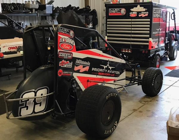 "The Clauson/Marshall Racing #39 that Ricky Stenhouse, Jr. will race this Thursday night, October 20 during the USAC National Midget Championships ""Jason Leffler Memorial"" at Wayne County Speedway in Wayne City, Illinois."