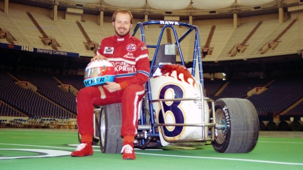 Mike Streicher in a promotion photo shoot prior to the 1991 Hoosier Dome Invitational Midget race in Indianapolis, Ind.