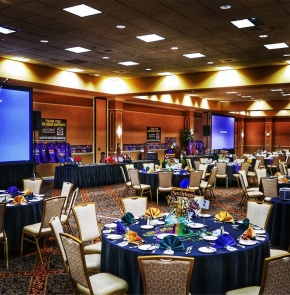 A view of the banquet room in Las Vegas where this year's USAC Western Awards Banquet will be held.
