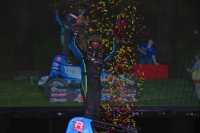 Thomas Meseraull celebrates his first win of the USAC AMSOIL National Sprint Car season Tuesday night at New York's Weedsport Speedway.