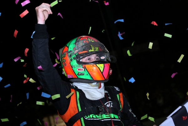 Kevin Thomas, Jr. celebrates a victory at Tri-State Speedway in 2018.