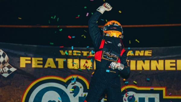 Tanner Thorson celebrates his victory Friday night at Bubba Raceway Park in Ocala, Fla.