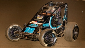 Hunter Schuerenberg (#19s) leads the Oval Nationals ProSource Passing Master standings after night 1 of 3 at Perris Auto Speedway.