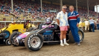 1989 USAC Silver Crown champion driver Chuck Gurney (right) and series champion car owner Junior Kurtz (left).
