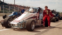 1984 USAC Silver Crown champion Dave Blaney as he awaits the start of the 200-lap event at the Minnesota State Fairgrounds.