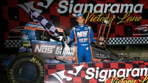 Justin Grant won his first NOS Energy Drink Indiana Sprint Week race since 2012 on Sunday night at Lawrenceburg Speedway.