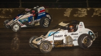Eventual winner Brady Bacon (#6) and Kevin Thomas, Jr. (#9) battle for the lead during Saturday's USAC Silver Crown season finale at Eldora Speedway's 4-Crown Nationals presented by NKT.tv.