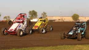 2020 USAC AMSOIL National Sprint Cars tussle at Gas City (Ind.) I-69 Speedway.
