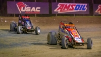Brady Bacon (#69) on his way to a USAC AMSOIL National Sprint Car victory at Ocala in February of 2020.