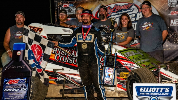 Thomas Meseraull (San Jose, Calif.) is all smiles after capturing Thursday night's victory in the Sprint Car Smackdown VIII opener at Kokomo Speedway.