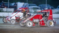2020 champion Seth Carlson (#4) & Will Hull (#3) battle side-by-side in USAC DMA SpeeD2 Midget action this past year.