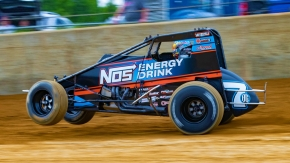 "Tyler Courtney (#7BC) has earned the three most recent ""sweeps"" in USAC AMSOIL Sprint Car competition."