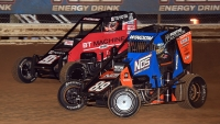 2020 USAC NOS Energy Drink National Midget champion Chris Windom (#89) and Tyler Thomas (#91T) at Wayne County Speedway in Wayne City, Ill.