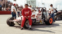 1986 USAC Silver Crown champion Jack Hewitt poses before the start of the event at Indianapolis Raceway Park.