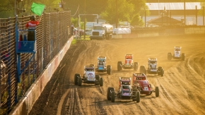 The start of heat race action at the Terre Haute Action Track.