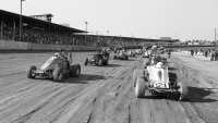 The USAC Sprint Car field at Eldora Speedway lined up prior to a 1984 feature.