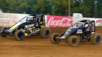 #4 Justin Grant and #21 Carson Short battle at Lincoln Park Speedway during a USAC AMSOIL National Sprint Car race last year.