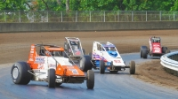 #7 Kyle Robbins leads the pack at the Illinois State Fairgrounds last year.