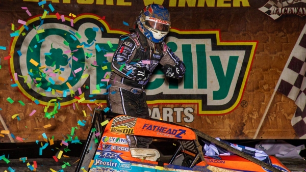 Brady Bacon became just the 13th driver to record at least 30 career USAC AMSOIL National Sprint Car wins with Friday's triumph at Bubba Raceway Park.