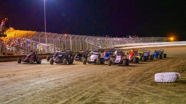 The four-wide salute at Bubba Raceway Park in Ocala, Fla., where the 2020 USAC National season kicks off for Winter Dirt Games XI.