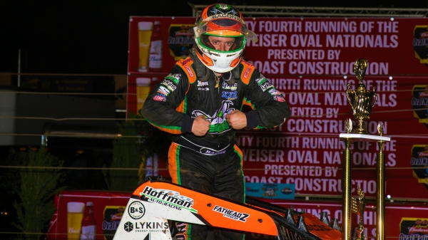 Brady Bacon strikes the Macho Man pose after winning Thursday's Oval National opener at Perris Auto Speedway.