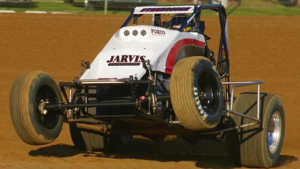 #53 Jon Stanbrough wheels up during Indiana Sprint Week in 2007.