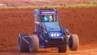 Grady Chandler at speed during July's USAC NOS Energy Drink National Midget race at Red Dirt Raceway.