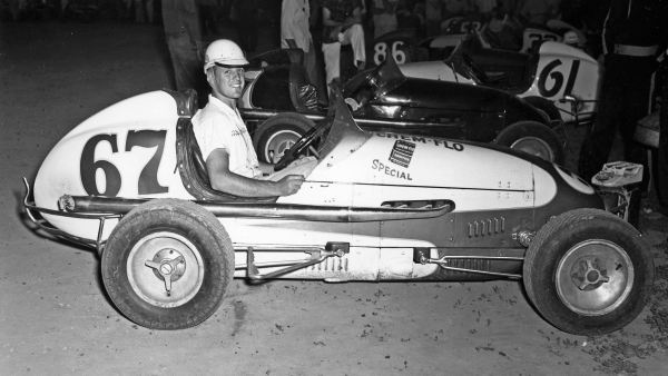 A.J. Foyt posed in Bob Higman's midget during the 1957 USAC Midget season. Foyt lived with Higman in his Lafayette-area farm when he first moved to the Midwest.