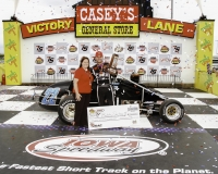 Bobby Santos of Franklin, Mass. celebrates in victory lane.