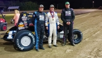 Winner Don Droud Jr. (middle) is flanked by 2nd place finisher and series champion Wyatt Burks (left) with 3rd place finisher Brian Beebe.