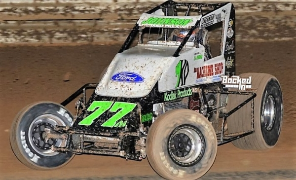 "R.J. Johnson won two out of three during last week's USAC Southwest Sprint Car ""Freedom Tour."""