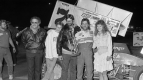 Brad Doty celebrates his first career USAC National Sprint Car win at Paragon Speedway on May 7, 1988
