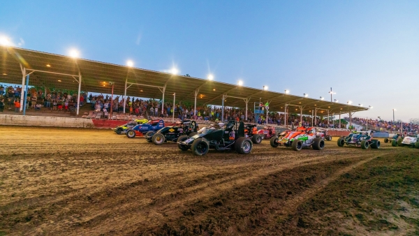 USAC AMSOIL National Sprint Cars ready to fire at the Terre Haute (Ind.) Action Track.