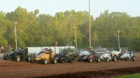The start of USAC AMSOIL National Sprint Car heat race action at Bloomington Speedway.